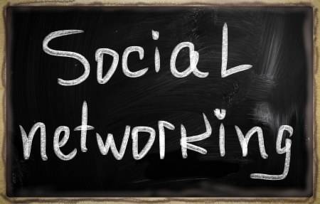 social media concept - text on a blackboard. Stock Photo - 20826038
