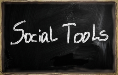 social media concept - text on a blackboard. Stock Photo - 20826039