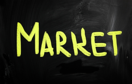Market handwritten with white chalk on a blackboard photo
