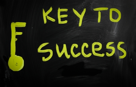 'Key to success' handwritten with white chalk on a blackboard photo