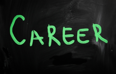 Career handwritten with white chalk on a blackboard photo