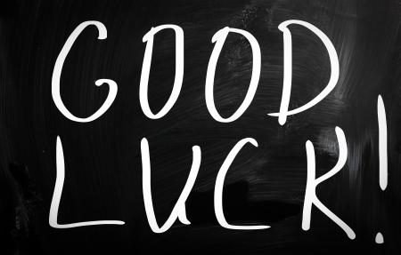 best wishes: Good luck! handwritten with white chalk on a blackboard