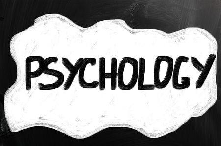Psychology handwritten with white chalk on a blackboard. photo
