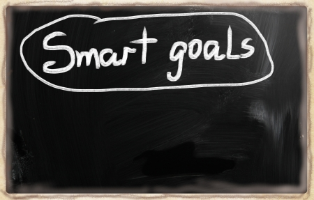'Smart goals' handwritten with white chalk on a blackboard. photo