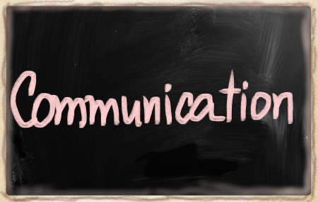 Communication handwritten with chalk on a blackboard photo