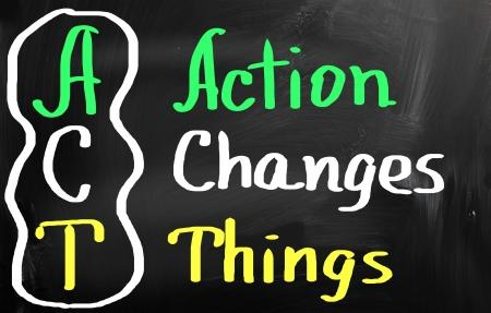 アクションは、物事を変更します。 写真素材