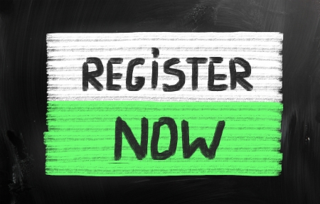 signup: Register now handwritten with chalk on a blackboard Stock Photo