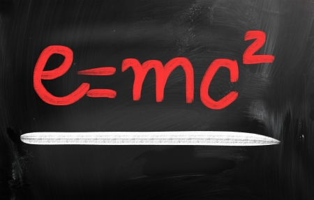 E=mc2 handwritten with chalk on a blackboard photo