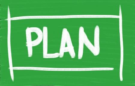 """Plan"" handwritten with chalk on a chalkboard Imagens"
