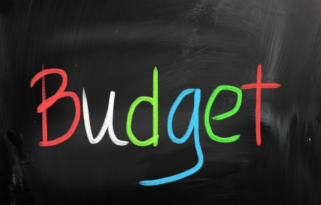 Budget handwritten with chalk on a blackboard photo