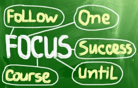 focalize: Focus handwritten with chalk on a blackboard Stock Photo