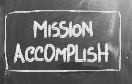 accomplish: Mission Accomplish Concept Stock Photo