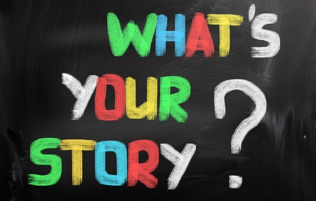 share information: Whats Your Story Concept Stock Photo