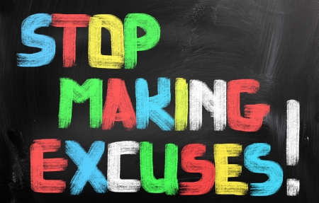 verontschuldiging: Stop Making Excuses Concept