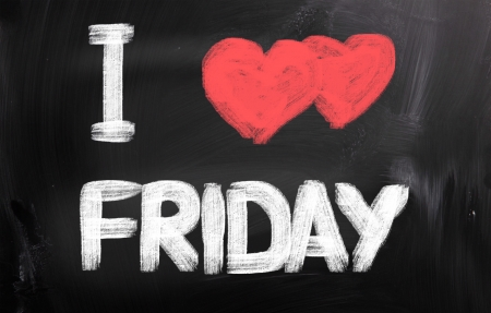 week end: I Love Friday Concept Stock Photo