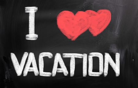 week end: I Love Vacation Concept Stock Photo