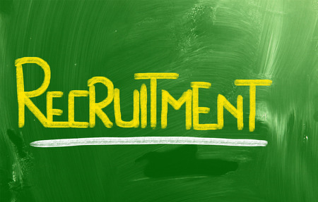 Recruitment words on green board photo