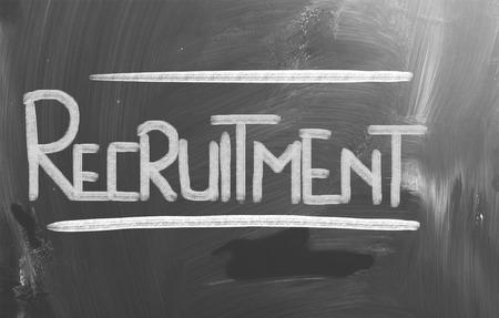 Recruitment word on blackboard photo