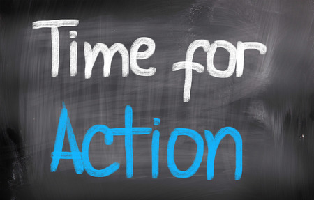 Time For Action words on blackboard Stock Photo - 25696071