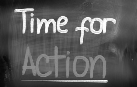 Time For Action words on blackboard Stock Photo - 25696047