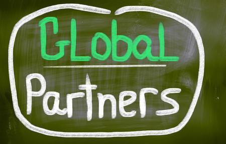 forwarding agency: Global Partners words on blackboard