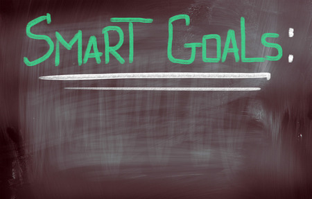 Smart Goals words on blackboard photo