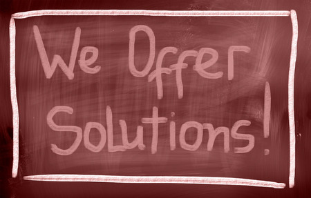 We Offer Solutions words on blackboard photo