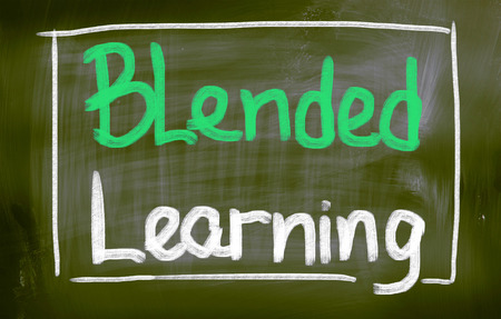 Blended Learning words on blackboard photo