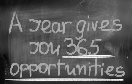 accomplish: A year Gives You 365 Opportunities Concept