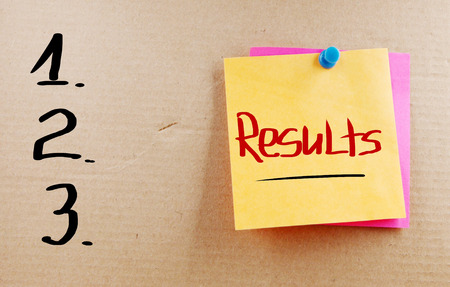 Results word on note photo