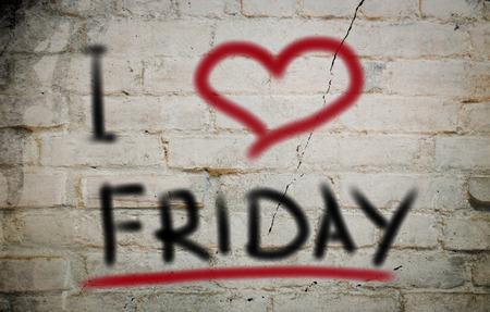 I Love Friday Concept Stock Photo