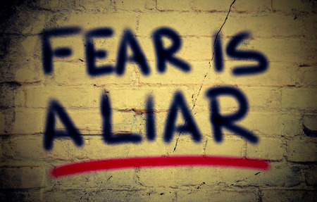 mindful: Fear Is A Liar Concept Stock Photo