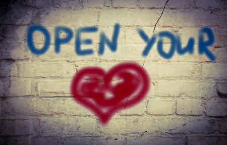 receptivo: Open Your Concept Coraz�n Foto de archivo
