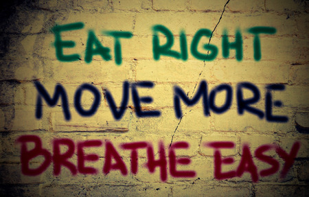 eat right: Eat Right Move More Breathe Easy Concept