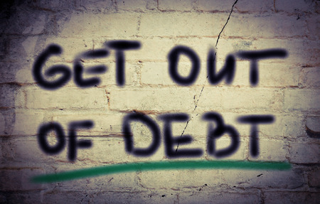get out: Get Out Of Debt Concept