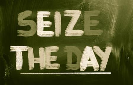 short phrase: Seize The Day Concept Stock Photo