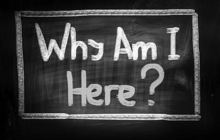 i am here: Why Am I Here Concept on blackboard