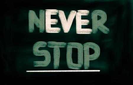 nunca: Never Stop Concept Foto de archivo