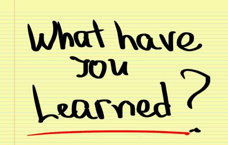 lernte: Was haben Sie gelernt Konzept