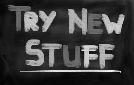 spul: Probeer New Stuff Concept Stockfoto