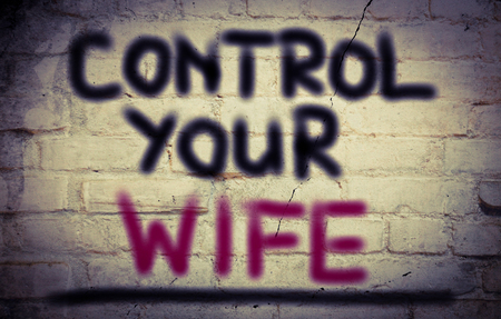 rudeness: Control Your Wife Concept Stock Photo