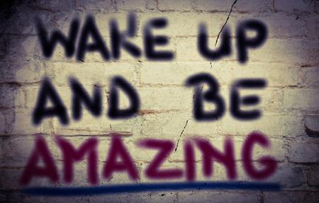 actitud positiva: Despertar y ser el concepto increíble Foto de archivo