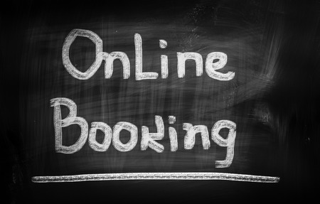 paying bills online: Online Booking Concept Stock Photo