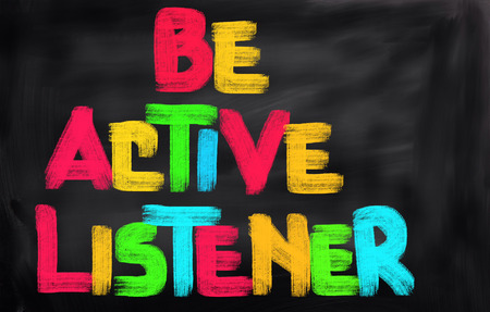 listener: Be Active Listener Concept Stock Photo