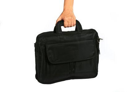 Woman handing a black laptop bag  Stock Photo