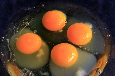 Fresh chicken eggs in a bowl Stock Photo