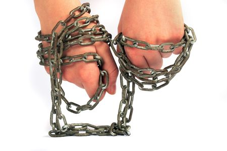 Hands in chains on a background white Stock Photo - 6704305