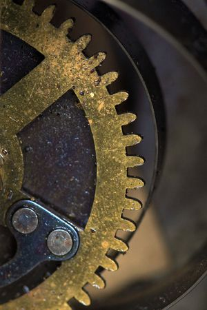 close up view of gears from old mechanism Stock Photo