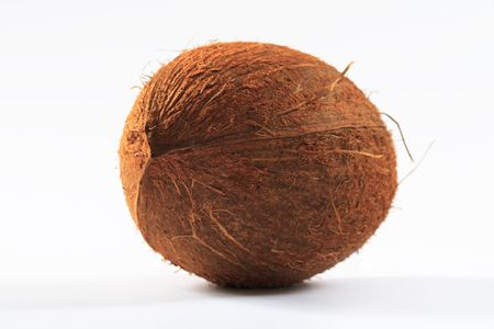 coconut on white background, closeup