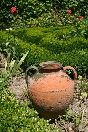amphora with a beautiful garden Stock Photo